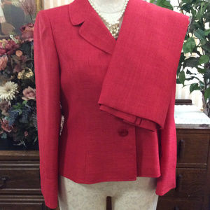 Le Suit Holiday Red Skirt Blazer Suit Set Size 14